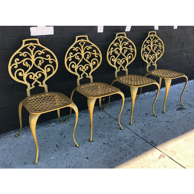 Set of 4 Gold Leafed Thinline Mfg Dining Chairs For Sale In Las Vegas - Image 6 of 10