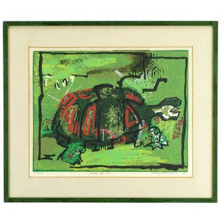 Colorful Turtle Block Print in Green, Red, Black & White For Sale