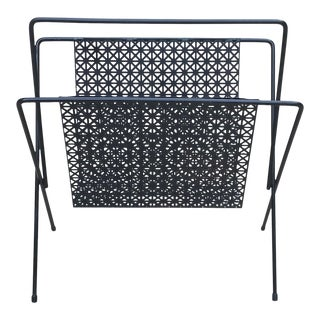 Mid Century Space Age Black Expanded Metal Magazine Rack For Sale