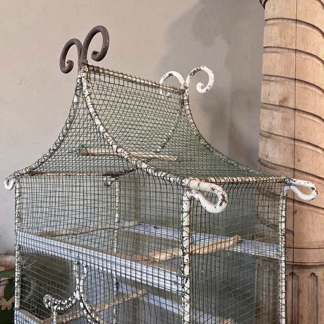 French 19th Century French Painted Wire Pagoda Birdcage For Sale - Image 3 of 13