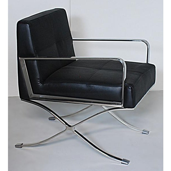 Leather & Chrome Office Chairs - a Pair - Image 4 of 5