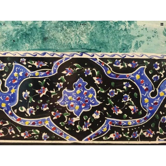 Hand Painted Persian Tile Panel Hunt Scene / Persian Miniature Art Mosaic For Sale In New York - Image 6 of 8