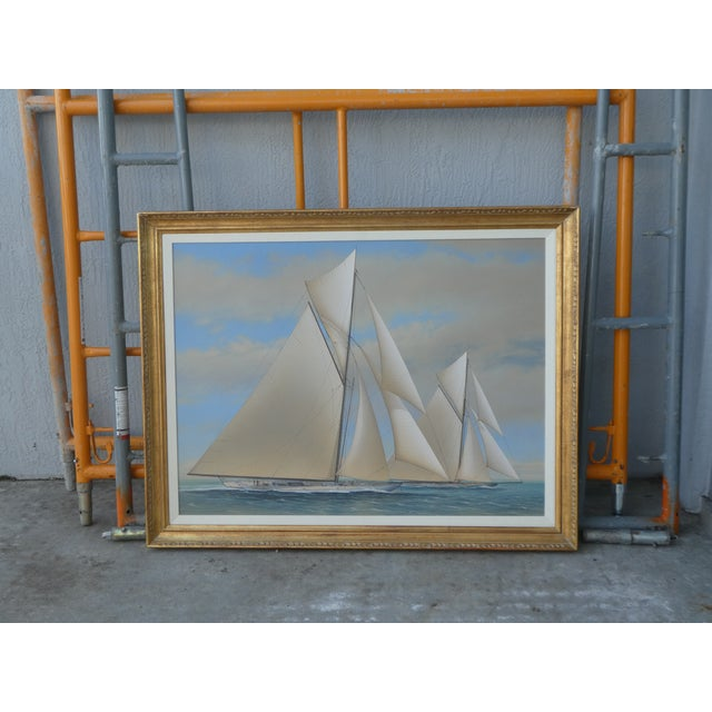 21st Century Vintage Yacht Racing Painting Possibly America's Cup by Richard Lane For Sale - Image 10 of 12