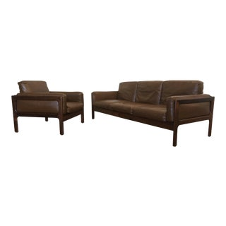 Komfort Mid Century Leather Sofa & Chair Set For Sale