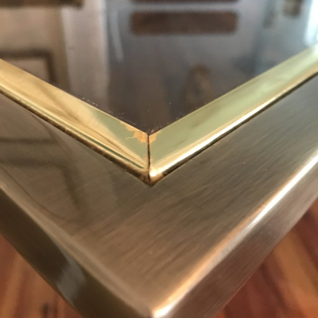 Mid-Century Design Institute of America Glass & Bronzed Modern Dining Table For Sale In Charleston - Image 6 of 7