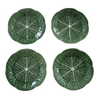 Set of 4 Bordallo Pinheiro Green & White Majolica Style Cabbage Salad Plates