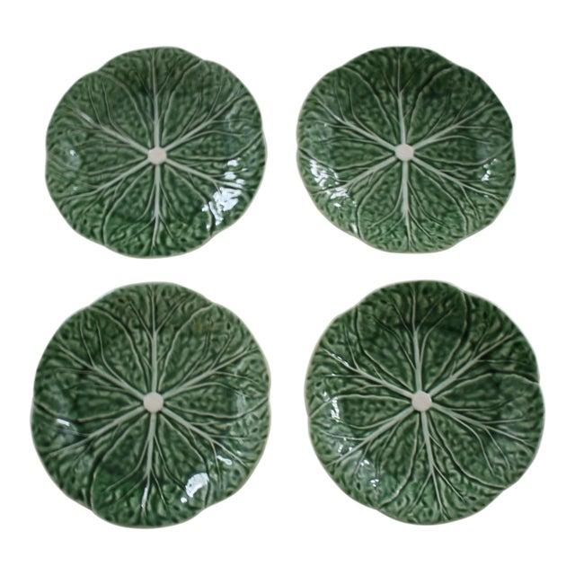 Set of 4 Bordallo Pinheiro Green & White Majolica Style Cabbage Salad Plates For Sale