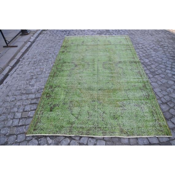 Vintage Handwoven Turkish Green Oushak Carpet - 5′4″ × 9′2″ - Image 2 of 6