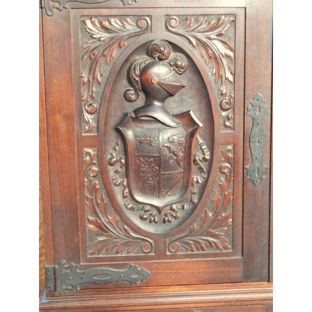 1920s Spanish Colonial Heraldic Theme Storage Cabinet For Sale - Image 9 of 11