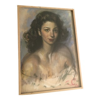 "Vintage 1959 French ""Beautiful Lady"" Pastels Chalkware Drawing Signed For Sale"