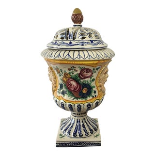 Reticulated Majolica Urn With Lion Handles