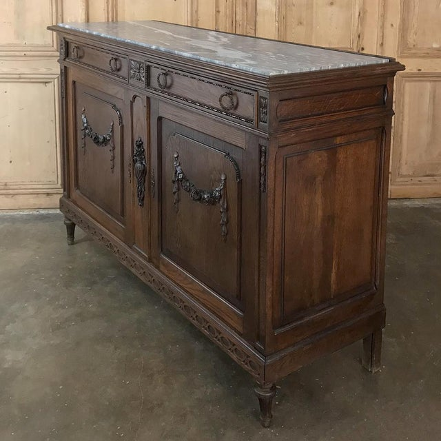 Louis XVI Antique French Louis XVI Marble Top Buffet For Sale - Image 3 of 13