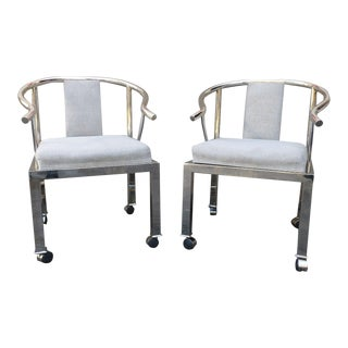 1950s Mid-Century Modern Design Institute America Chrome Yoke Chairs - a Pair For Sale
