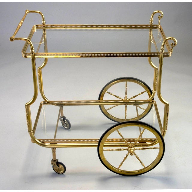 French Brass and Glass Bar or Tea Trolley For Sale - Image 4 of 11