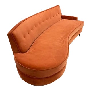 Vintage Mid Century Curved Sofa For Sale