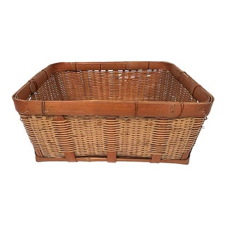 Vintage Woven Basket With Wide Rattan Banding For Sale