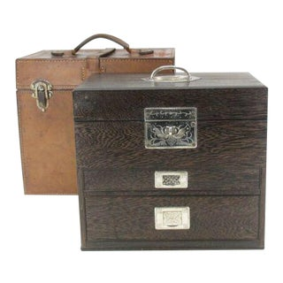 Ip Japanese Doctor's Bag Leather Wood Chest of Drawers Metail Travel Small Tansu Antique For Sale