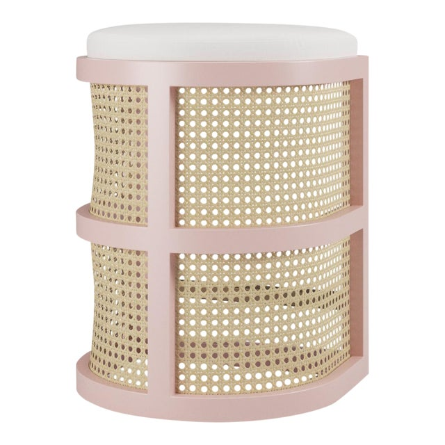 Isabella Counter Stool - Coral Dust, Optic White Linen For Sale
