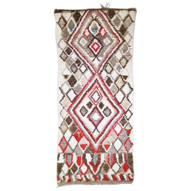 Moroccan Berber Azilal Rug With Tribal Style - 3′ × 6′7″ For Sale