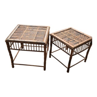 20th Century Boho Chic Burnt Bamboo Side Tables - a Pair For Sale