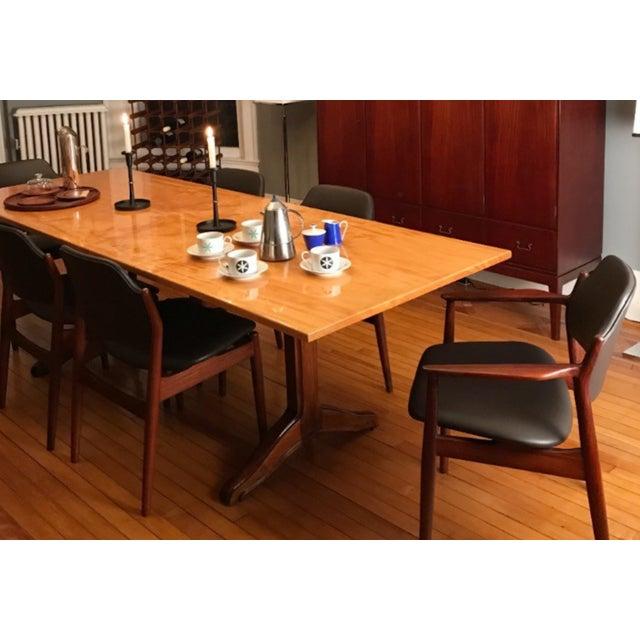 1980s Custom Trestle Dining Table designed by Jack Dunbar For Sale - Image 5 of 6