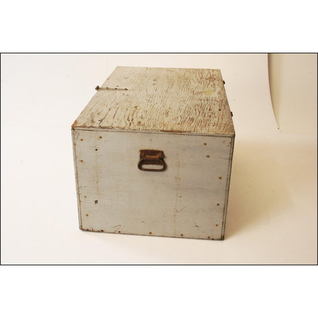 Vintage Industrial Wood Gray Military Storage Chest - Image 4 of 11