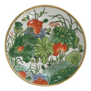 Chinoiserie Floral Hand Painted Porcelain Brass Encased Bowl/Catchall - Made in Japan For Sale