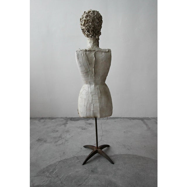 1920s Antique 1920's French Female Art Dress Form Mannequin on Steel Stand For Sale - Image 5 of 9