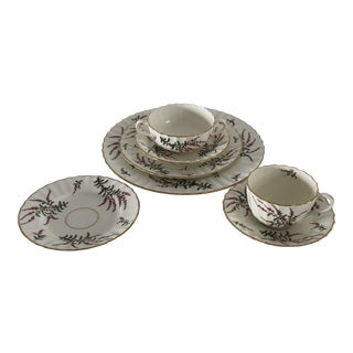 """1930's Royal Worcester """"Dunrobin"""" One Place Setting (7-Pieces) For Sale"""
