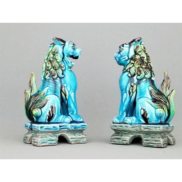 Palm Beach Chic Circa 1990s: Vintage Japanese Blue Ceramic Porcelain Foo Dogs