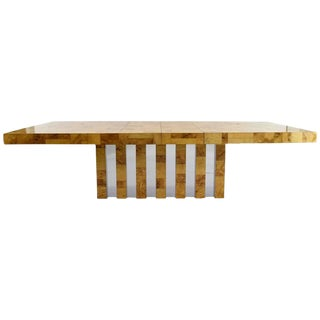 Paul Evans Burl Wood and Chrome Cityscape Dining Table For Sale