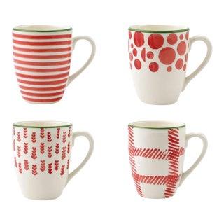 Kenneth Ludwig Chicago Mistletoe Mugs - Set of 4 For Sale