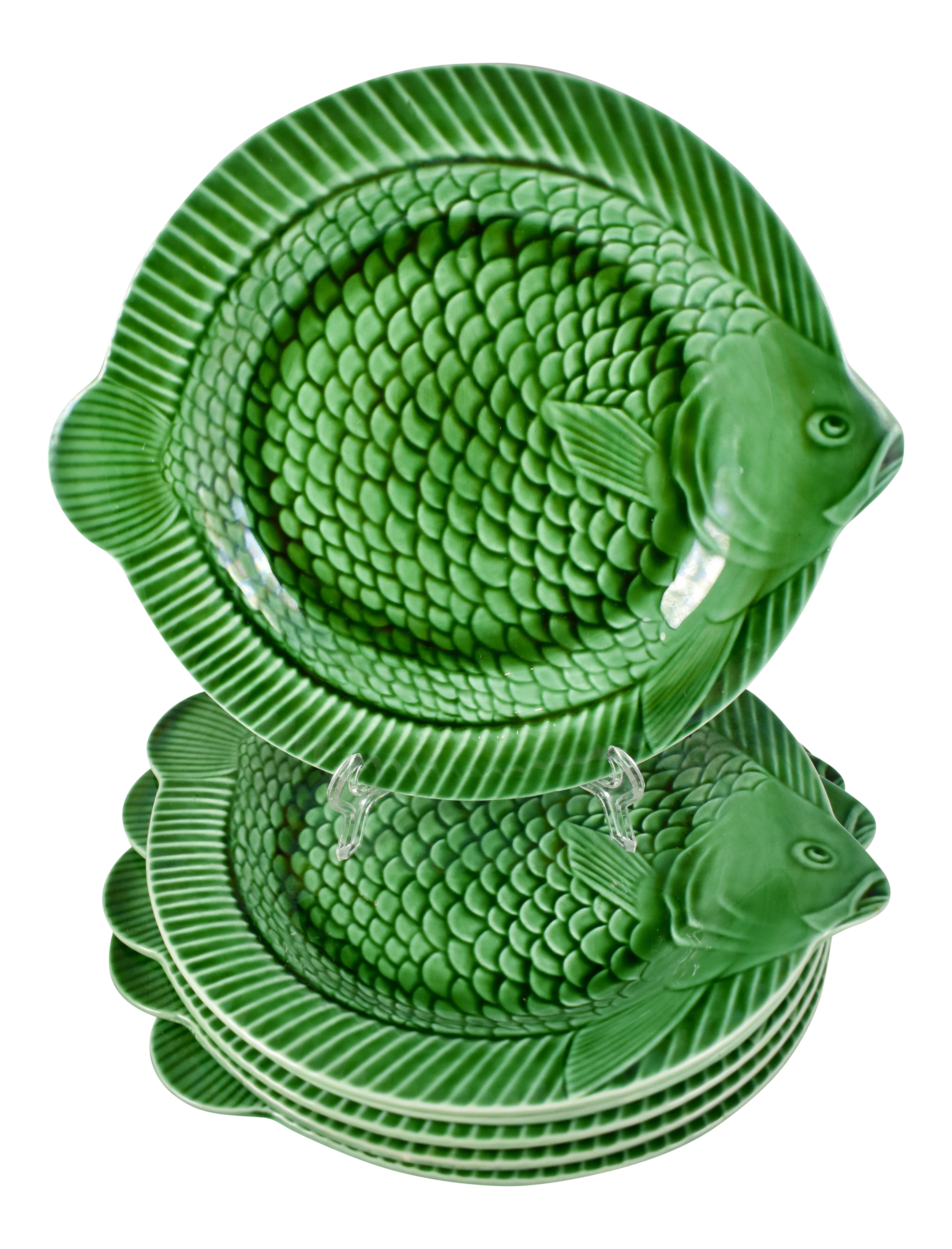 Sarreguemines French Majolica Green Fish Service Plates - Set of 6  sc 1 st  Chairish & Sarreguemines French Majolica Green Fish Service Plates - Set of 6 ...