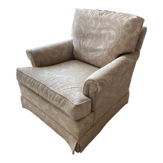Hickory Chair Arm Chair in Off White Damask For Sale