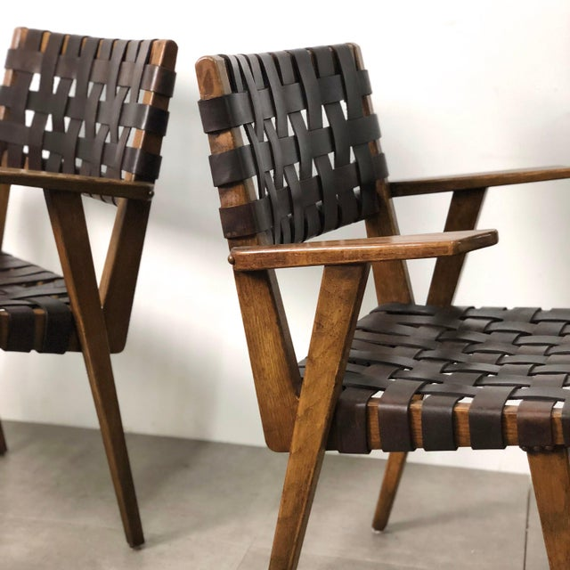 Animal Skin Pair of Mid-Century Modern Leather Webbed Chairs For Sale - Image 7 of 10