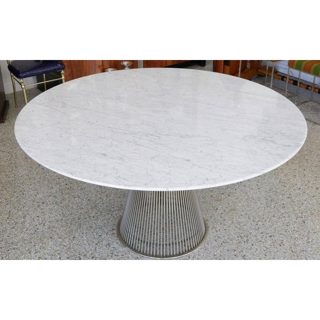 Warren Platner for Knoll Marble Table, Four Chairs, Jack Lenor Larsen Fabric - Image 4 of 10