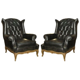 Maison Jansen Pair of Louis XV Style Tufted Leather Wing Lounge Chairs For Sale