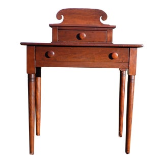 Antique 1840's Sheraton 2 Drawer Stand Desk Vanity Entry Table New England For Sale