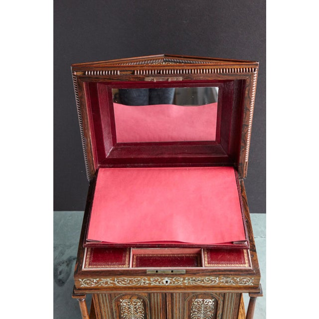 Important William IV Rosewood & Mother of Pearl Inlaid Lady's Table Compendium For Sale - Image 12 of 13