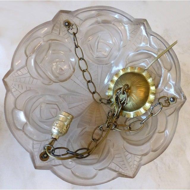 Degue French Art Deco Cast Mauve Glass Pendant Chandelier, Signed, Circa 1930 For Sale - Image 12 of 13