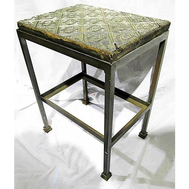 Antique wallpaper print block converted into a top for a new, custom-made, heavy-duty steel end table. Can add glass shelf...