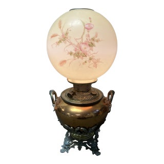 Early 20th Century Victorian Bradley & Hubbard Parlor Gone With the Wind Hurricane Lamp For Sale