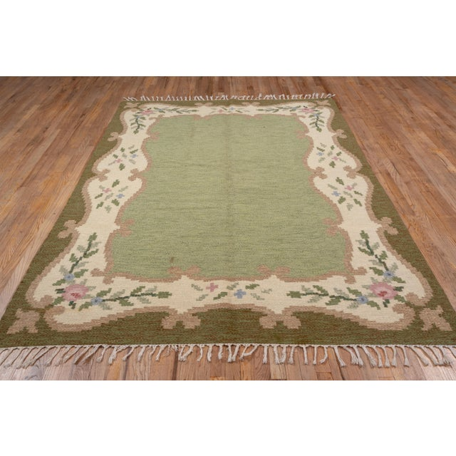 Scandinavian Flatweave Rollaken Rug, Open Green Field For Sale - Image 4 of 8