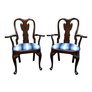 Statton Old Towne Solid Cherry Queen Anne Dining Captain's Arm Chairs - Pair For Sale