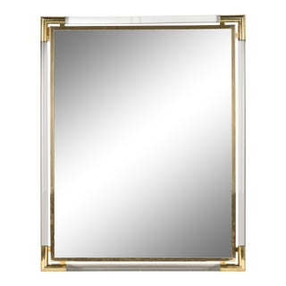 Guy Lefevre French Lucite and Brass Mirror For Sale