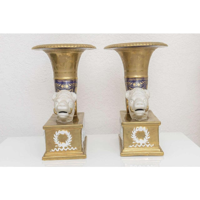 Pair of Neo-Classic Style Cornucopia with Boars: Dresden, Germany, 19th C. For Sale - Image 10 of 11