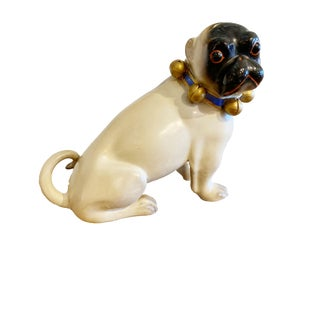 Figurative Standing German Pug With Bell Collar For Sale