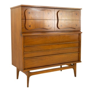 Bassett Mid Century 5 Drawer Highboy Dresser For Sale