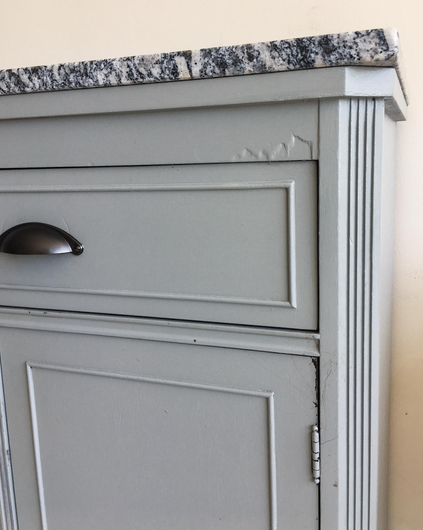Vintage Refurbished Grey Storage Cabinet With Granite Top For Sale   Image  5 Of 10