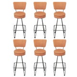 Image of Six Wrought Iron Bar Stools After Frederick Weinberg For Sale
